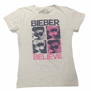 Justin Bieber Girl's XL white short sleeve tee